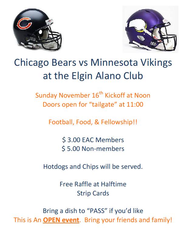 Bears Vs. Vikings - Sunday Football, Food & Fellowship 2