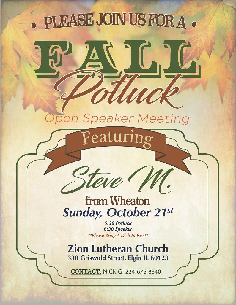Fall Open Speaker Potluck – In-Depth Big Book Study Group 4